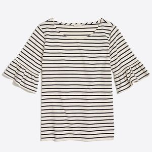 J. Crew • Striped Ruffle Sleeve T-Shirt Sz. Small